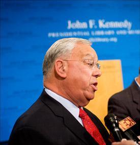 Mayor Menino talks to the media after the debate with Flaherty on Monday. (Pool photo by Yoon Byun/The Boston Globe)