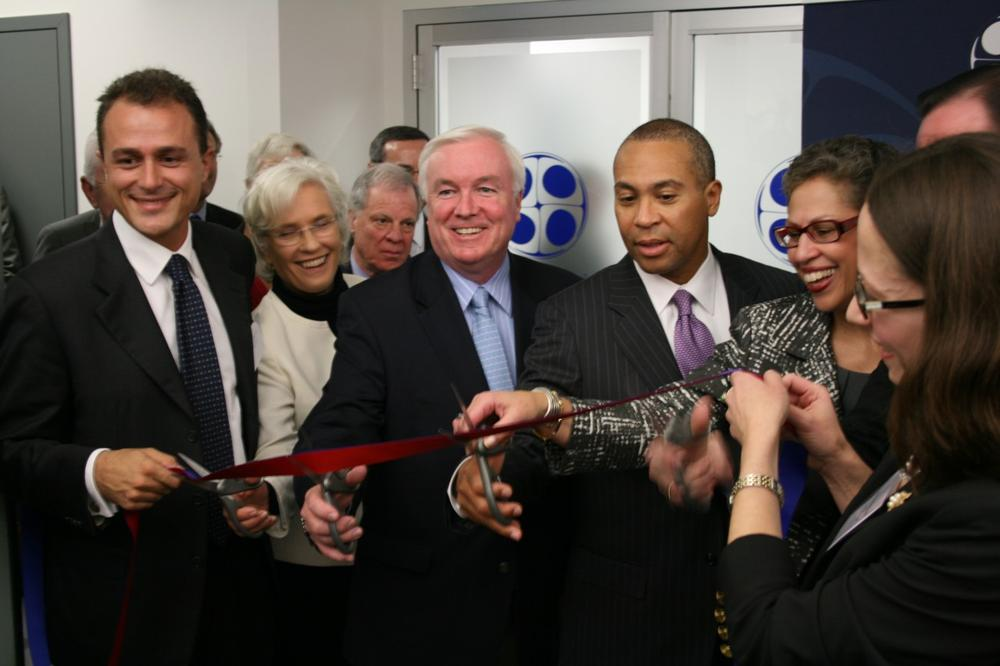 Gov. Deval Patrick cuts the ribbon at the opening of the world's first amniotic stem cell bank in Medford on Thursday. (Courtesy Massachusetts Life Sciences Center)