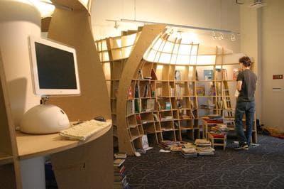 Chinatown Storefront Library intern Adam Robinson shelves books. (Sam Davol/Chinatown Storefront Library)