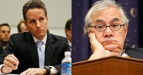 Treasury Secretary Timothy Geithner (left) gets ready to testify before the House Financial Services Committee in Washington on Thursday, Oct. 29, 2009, as the Committee's Chairman, Rep. Barney Frank (D-MA) presided. (AP)