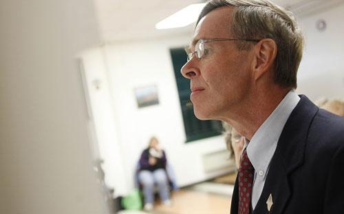 Conservative Party congressional candidate Doug Hoffman waits to vote at the town hall in Lake Placid, N.Y. on Tuesday, Nov. 3, 2009. (AP)