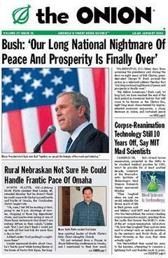 "Detail from a front page of The Onion, as featured in ""Our Front Pages"" (simonandschuster.com)."