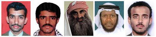 Self-proclaimed Sept. 11 mastermind Khalid Sheikh Mohammed, center, and four other Guantanamo Bay detainees (from left: Ali Abd al-Aziz Ali, Waleed bin Attash, Mustafa Ahmad al-Hawsawi and Ramzi Binalshibh) will be sent to New York to face trial in a civilian federal court, the Obama administration announced on Nov. 13, 2009. (AP Photos)