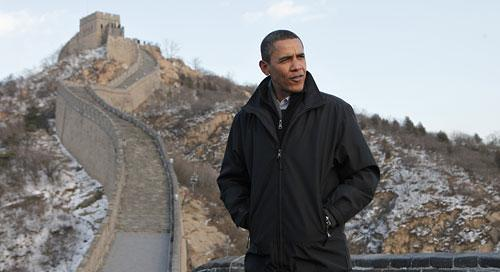 President Barack Obama tours the Great Wall in Badaling, China, on Wednesday, Nov. 18, 2009. (AP)
