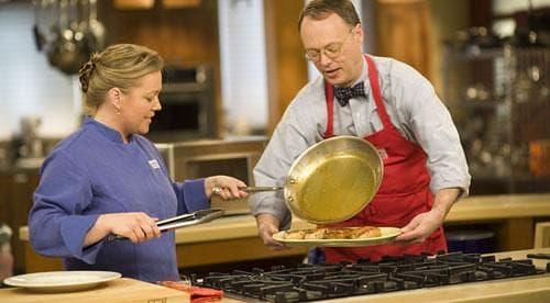Julia and Chris on the set of America's Test Kitchen. (Photo: americastestkitchen.com)