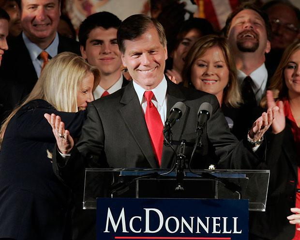 Republican Governor-elect Bob McDonnell waves to the crowd at his victory party in Richmond, Va., Tuesday. Unofficial results showed McDonnell, a conservative and former state attorney general, with about 60 percent of the vote over Democrat R. Creigh Deeds. He will be the state's first Republican governor in eight years. (Steve Helber/AP)