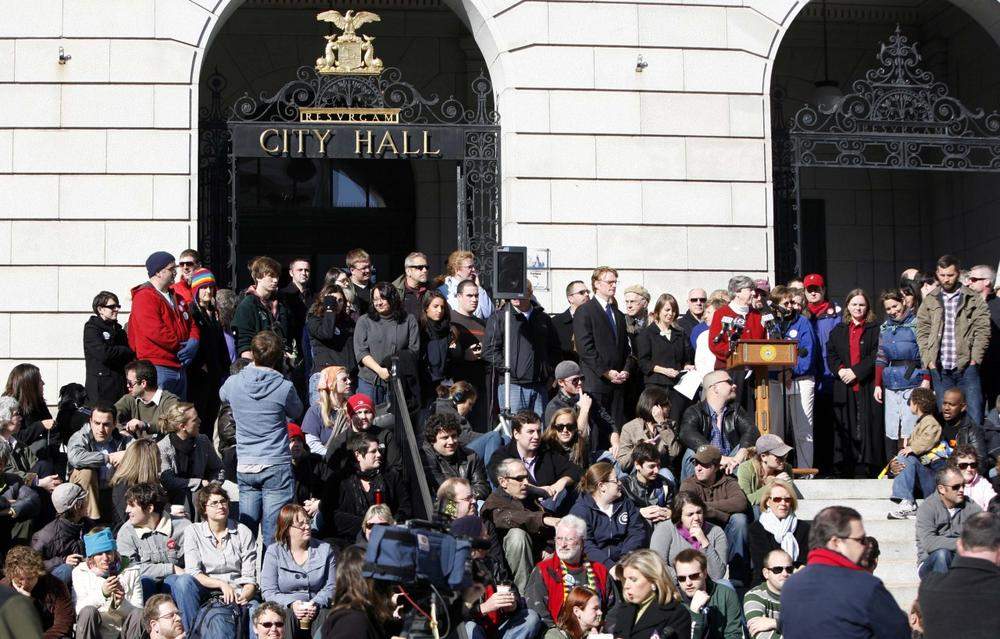 Supporters of same-sex marriage meet on the steps of City Hall, in Portland, Maine, on Wednesday, a day after voters rejected the gay marriage law that was passed last May. (AP)