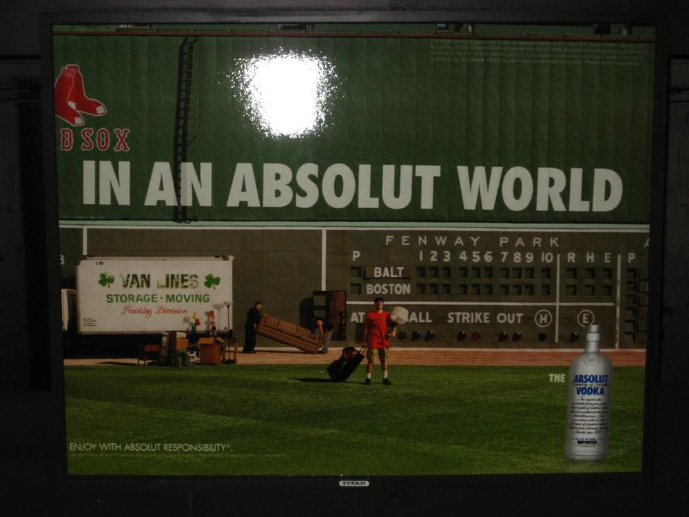 Boston University Professor Michael Siegel says alcohol ads on the T, like this one for Absolut vodka, clearly target college students, most of whom are under the legal age for the sale of alcohol. (Courtesy Michael Siegel)
