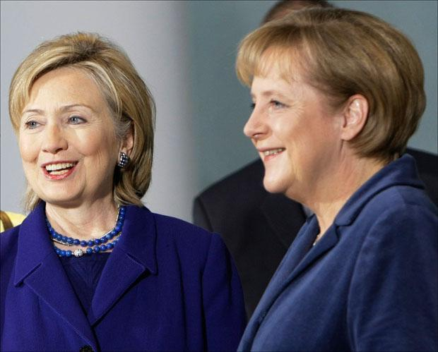 German Chancellor Angela Merkel welcomes U.S. Secretary of State Hillary Rodham Clinton in Berlin. (Herbert Knosowski/AP)
