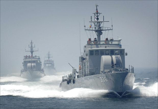 This undated photo released by the South Korea Navy on Tuesday shows South Korean Navy patrol boats, the same type of South Korean boats that involved in a naval clash with a North Korean ship, engage in an exercise in the West Sea, South Korea. (AP)