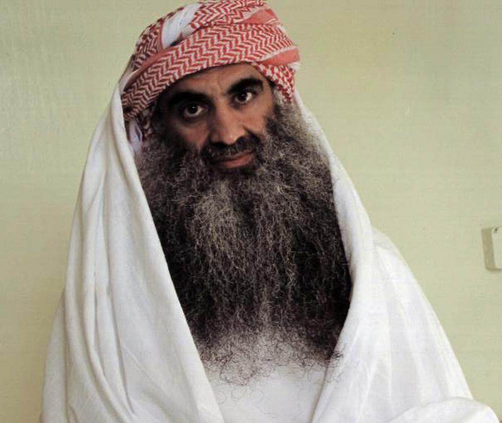 This photo downloaded from the Arabic language Internet site www.muslm.net and purporting to show a man identified by the Internet site as Khalid Sheik Mohammed, the accused mastermind of the Sep. 11 attacks, is seen in detention at Guantanamo Bay, Cuba.  (AP Photo/www.muslm.net)