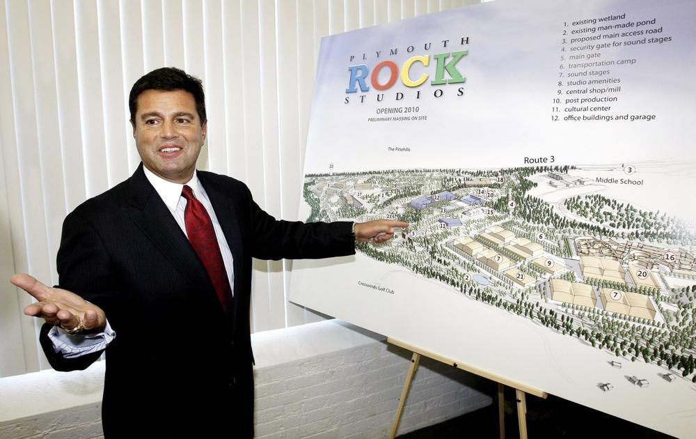 Plymouth Rock Studios CFO Joseph DiLorenzo talks about the proposed studio complex in Plymouth last year. The film studio company recently canceled a construction loan valued at $550 million. (AP)