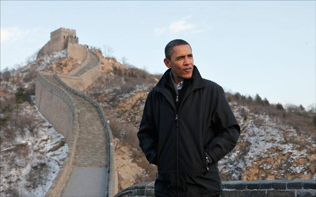 President Obama tours the Great Wall in Badaling, China. (Charles Dharapak/AP)
