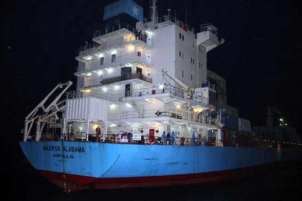 In this April 11 file photo, the U.S.-flagged Maersk Alabama arrives at Port of Mombasa, Kenya. (Sayyid Azim/AP)