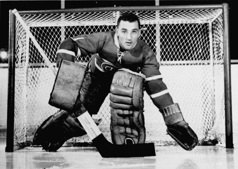 Montreal Canadiens' goaltender Jacques Plante posing on his home ice at the Montreal Forum in November 1958. (AP)