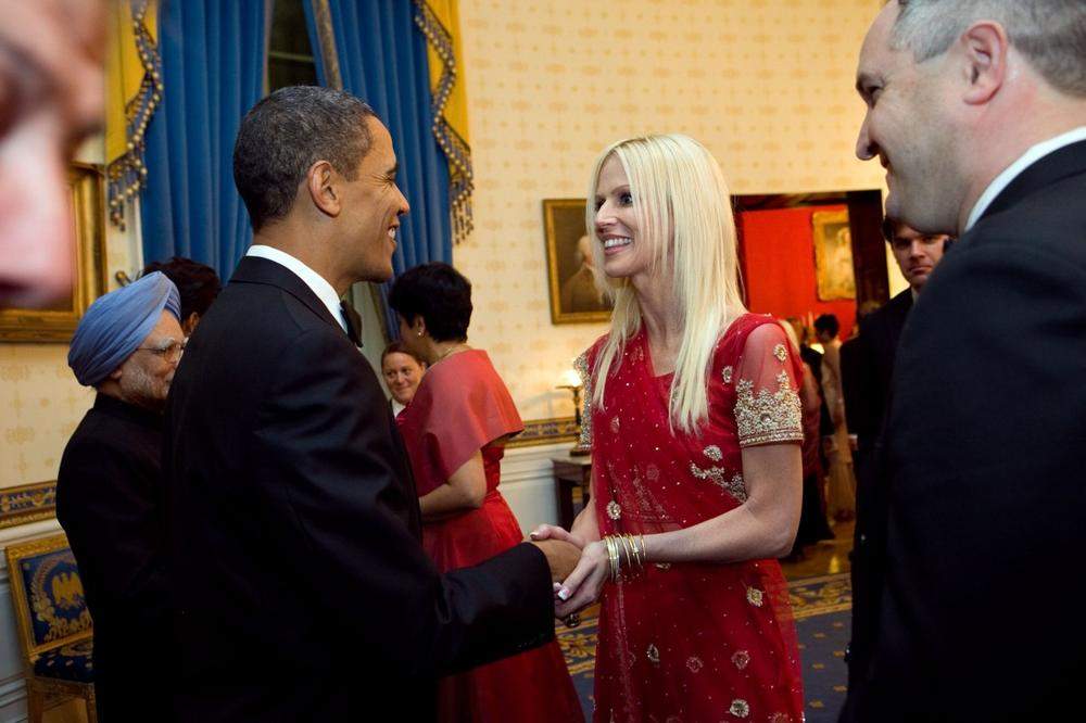 This photo released by the White House, shows President Barack Obama greeting  Michaele and Tareq Salahi, right, at a State Dinner in Washington Tuesday, Nov. 24, 2009. (AP Photo/The White House, Samantha Appleton)