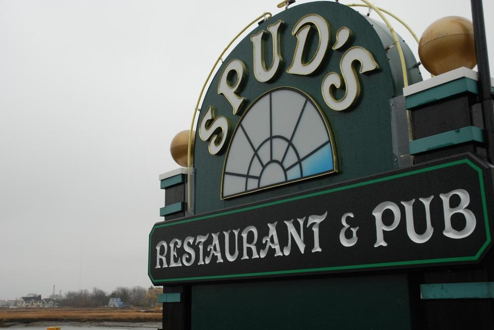 Spud's Restaurant & Pub in Saugus opens its doors every year on Thanksgiving for those in need. This year, Spud's expects to serve 600 free meals. (Sarah Bush/WBUR)