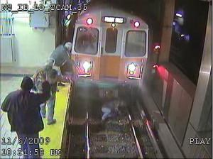 MBTA security cameras caught the close call at North Station. (MBTA)