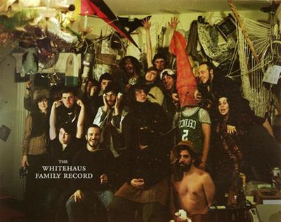 """A """"family photo"""" at The Whitehaus, a concert venue and artists collective in Jamaica Plain."""