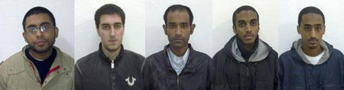 The five Americans arrested in Pakistan, from left, Waqar Hussain, Ramy Zamzam, Umar Farooq, Ahmad Minni, Aman Yemer are seen in Sargodha, Pakistan, in this photo released by Sargodha Police Department. (AP)
