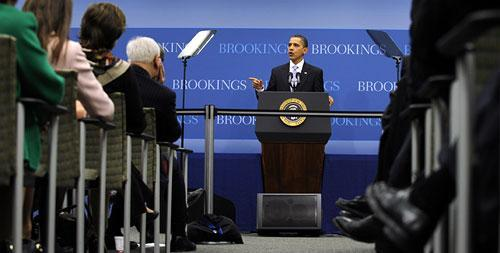 President Barack Obama speaks on the economy at the Brookings Institution in Washington, Tuesday, Dec. 8, 2009. (AP)