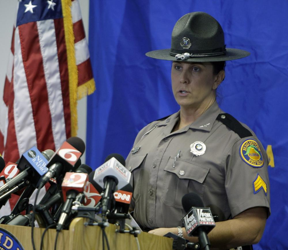 Sgt. Kim Montes with the Florida Highway Patrol speaks during a news conference concerning Tiger Woods' accident in Orlando, Fla., Tuesday. (AP)
