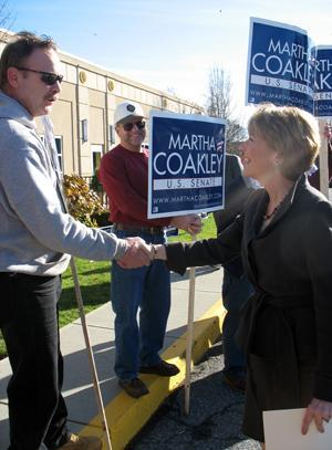 Martha Coakley greets supporters in Framingham. (Monica Brady-Myerov/WBUR)