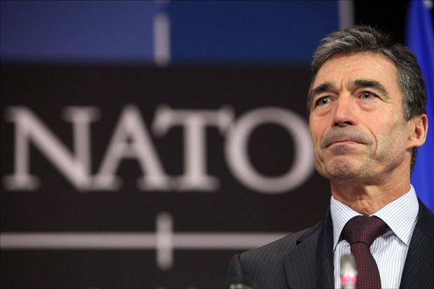 NATO Secretary General Anders Fogh Rasmussen addresses the media in Brussels. (Geert Vanden Wijngaert/AP)