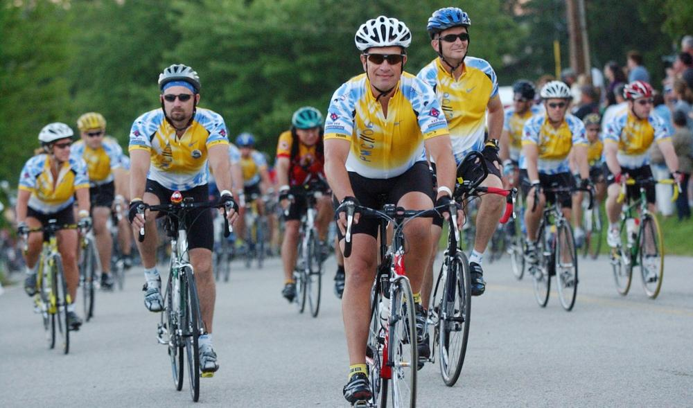 Cyclists are seen at the start of the 27th annual Pan-Massachusetts Challenge in Sturbridge in 2006. (AP)