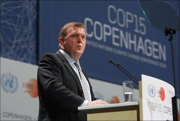 Lars Loekke Rasmussen, Prime Minister of Denmark, speaks during the opening ceremony of the Climate Conference in Copenhagen. (Anja Niedringhaus/AP)