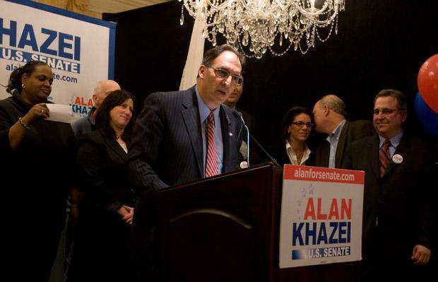 Alan Khazei gives his concession speech. (Jess Bidgood for WBUR)