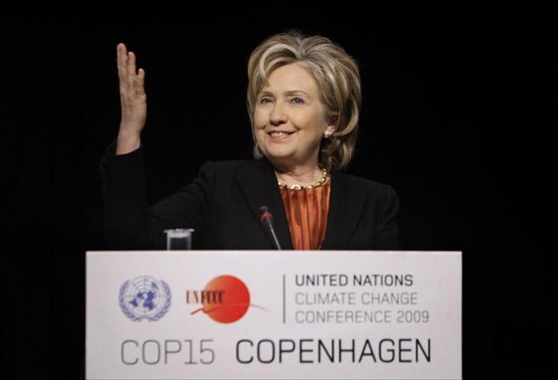 U.S. Secretary of State Hillary Clinton speaks to press at the climate summit in Copenhagen, Denmark. (AP)