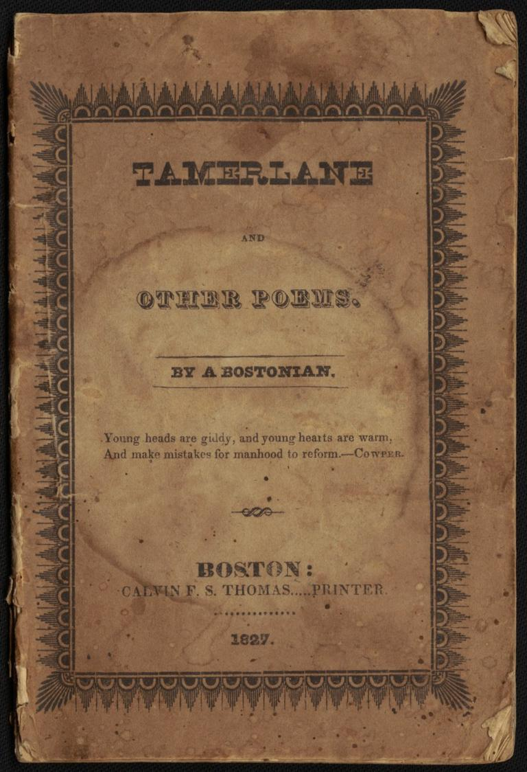 "Proof that Poe didn't hate Boston? Exhibit A: His first book of poetry, fully embracing his identity as ""A Bostonian"" (Courtesy Boston Public Library)"