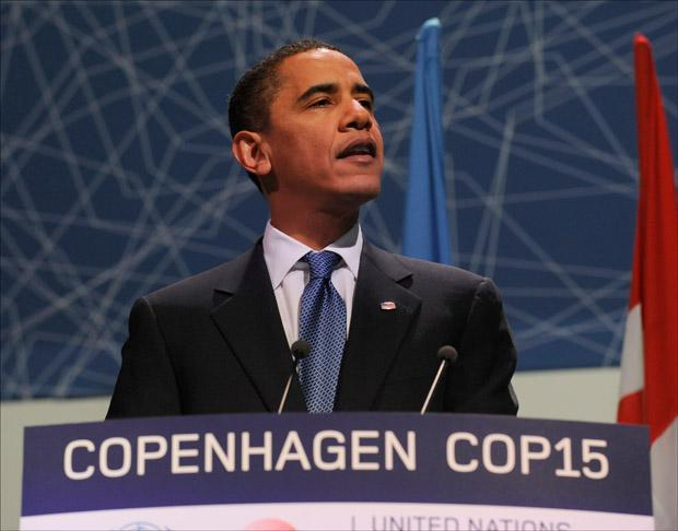 President Obama speaks at the morning plenary session of the United Nations Climate Change Conference in Copenhagen. (Susan Walsh/AP)