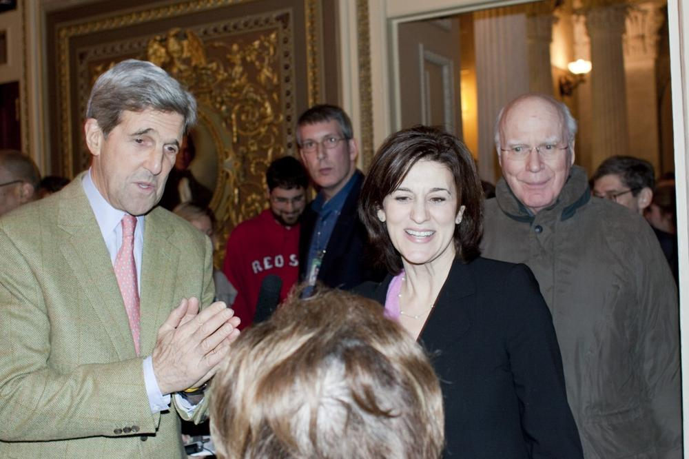 Victoria Reggie Kennedy, center, widow of the late Sen. Ted Kennedy is with Sen. John Kerry, D-Mass., left,  and Patrick Leahy, D-Vt.,  following a 60-40 cloture vote in Washington, Monday, Dec. 21, which was the first step in passing Thursday's health care bill. (AP)