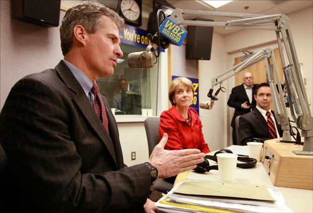 Republican Scott Brown, Democrat Martha Coakley and Independent candidate Joseph Kennedy take questions during a live radio talk show on WBZ-AM on Monday. (Steven Senne/AP)
