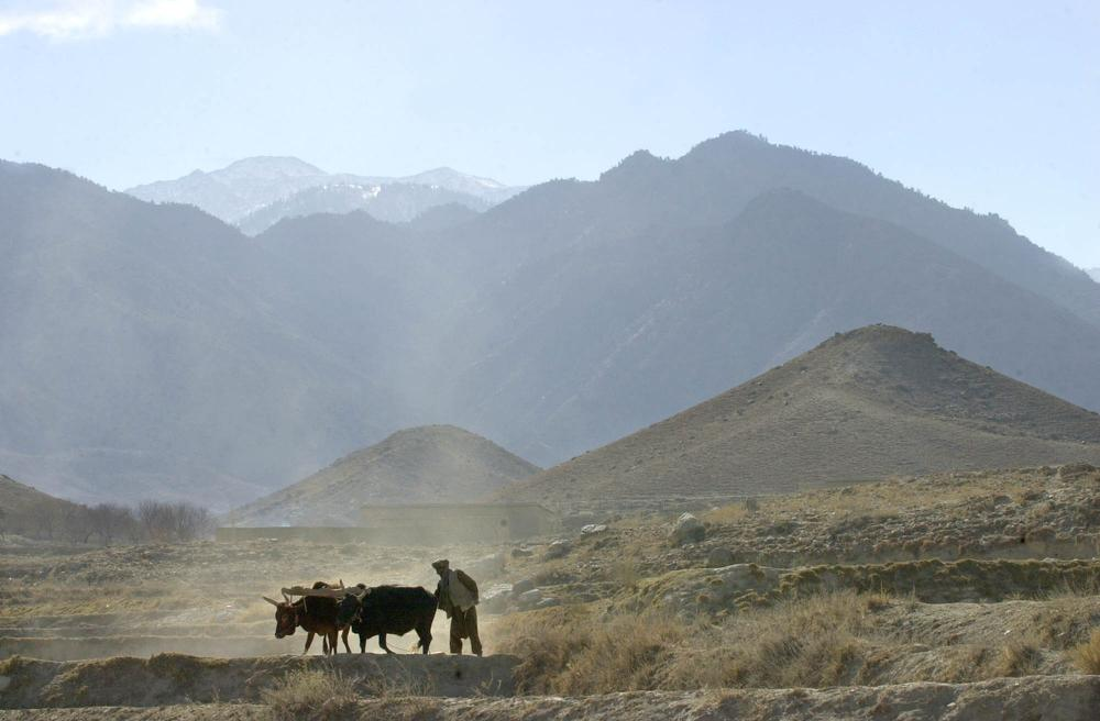 An Afghan farmer works on his field Friday Dec. 28, 2001,  in northeastern Afghanistan, near Tora Bora in background.  (AP Photo)
