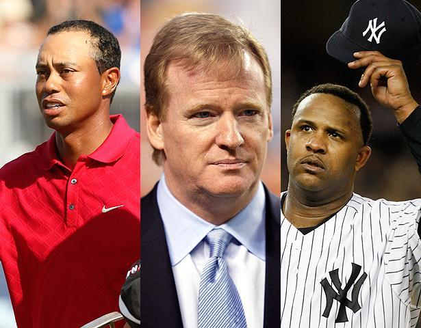 Three of 2009's prominent players: Tiger Woods, NFL Commissioner Roger Goodell, and the New York Yankees' C.C. Sabathia.  (AP)