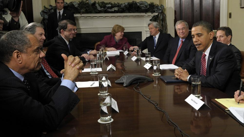 President Obama meets with members of the financial industry in the Roosevelt Room of the White House in Washington on Monday to discuss the economic recovery. (AP)