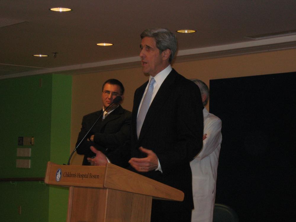 Speaking at Children's Hospital in Boston, Sen. John Kerry discusses the health care reform bill being debated in the U.S. Senate. (Sacha Pfeiffer/WBUR)