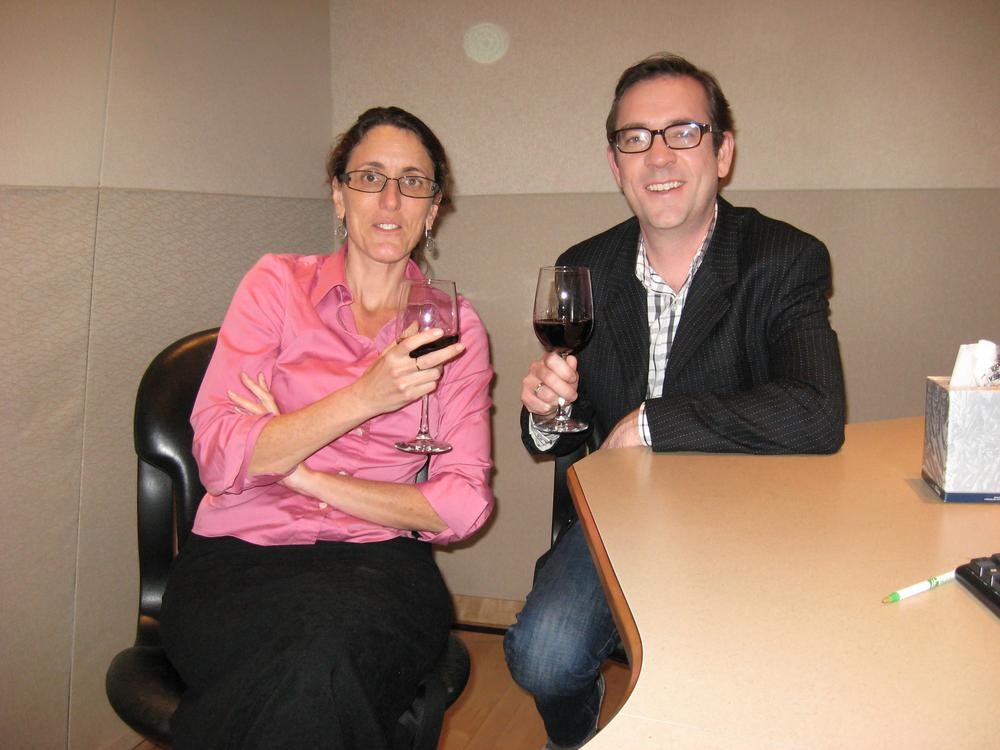 Deb Becker and Ted Allen raise a glass after his Here & Now interview