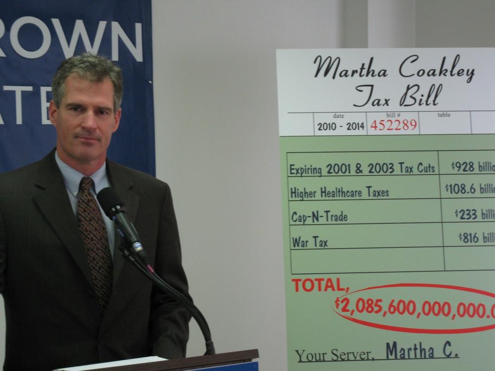 State Sen. Scott Brown held a news conference on taxes at his Needham campaign headquarters Wednesday. (Fred Thys/WBUR)