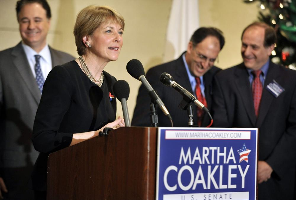 Attorney General Martha Coakley is flanked by her former rivals as she speaks at a unity event the morning after she won the Democratic primary for the special election for Massachusetts' open U.S. Senate seat. (AP)