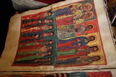 An illuminated manuscript from Ethiopia, depicting the saints