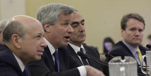 Goldman Sachs Chairman and CEO Lloyd Blankfein; JPMorgan Chase Chairman and CEO James Dimon; Morgan Stanley Chairman John Mack; and Bank of America President and CEO Brian T. Moynihan, testify on Capitol Hill on Wednesday, Jan. 13, 2010. (AP)