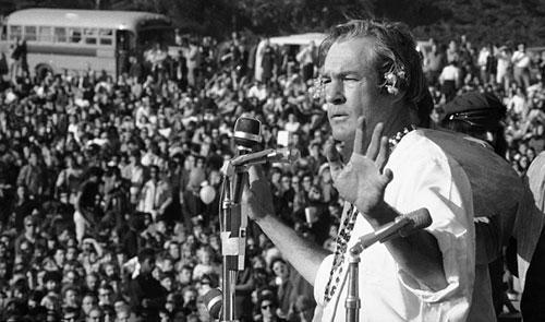 "Timothy Leary addresses the crowd at the ""Human Be-In,"" which he helped organize, in San Francisco's Golden Gate Park on Jan. 14, 1967. Leary told the crowd to ""Turn on, Tune in and Drop out."" (AP)"