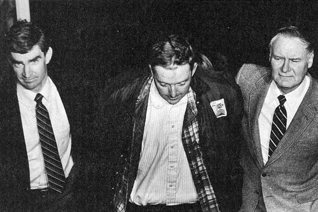 Then state police Trooper Brian Howe, left, arrested Tufts University Professor William Douglas (in an unrelated murder case), with state police Lt. James Sharkey, right, in 1983. Three years later, Sharkey would assign Howe to investigate the Braintree shooting of Seth Bishop by his sister, Amy. (John Landers/Boston Herald)