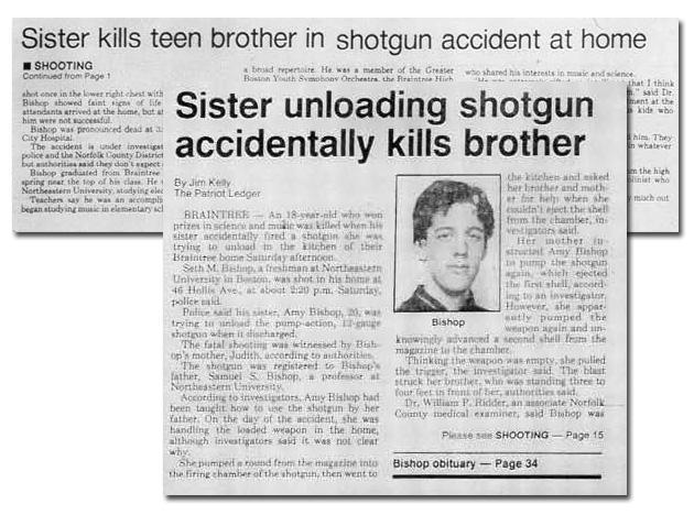 The story of Seth Bishop's shooting death, which was ruled accidental, appeared on the front page of the Dec. 8, 1986, edition of The (Quincy) Patriot Ledger.