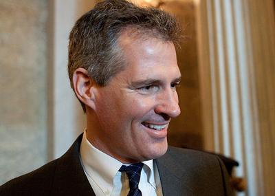 Sen. Scott Brown is seen on Capitol Hill in Washington on Feb. 24 after voting on the jobs bill. (AP)