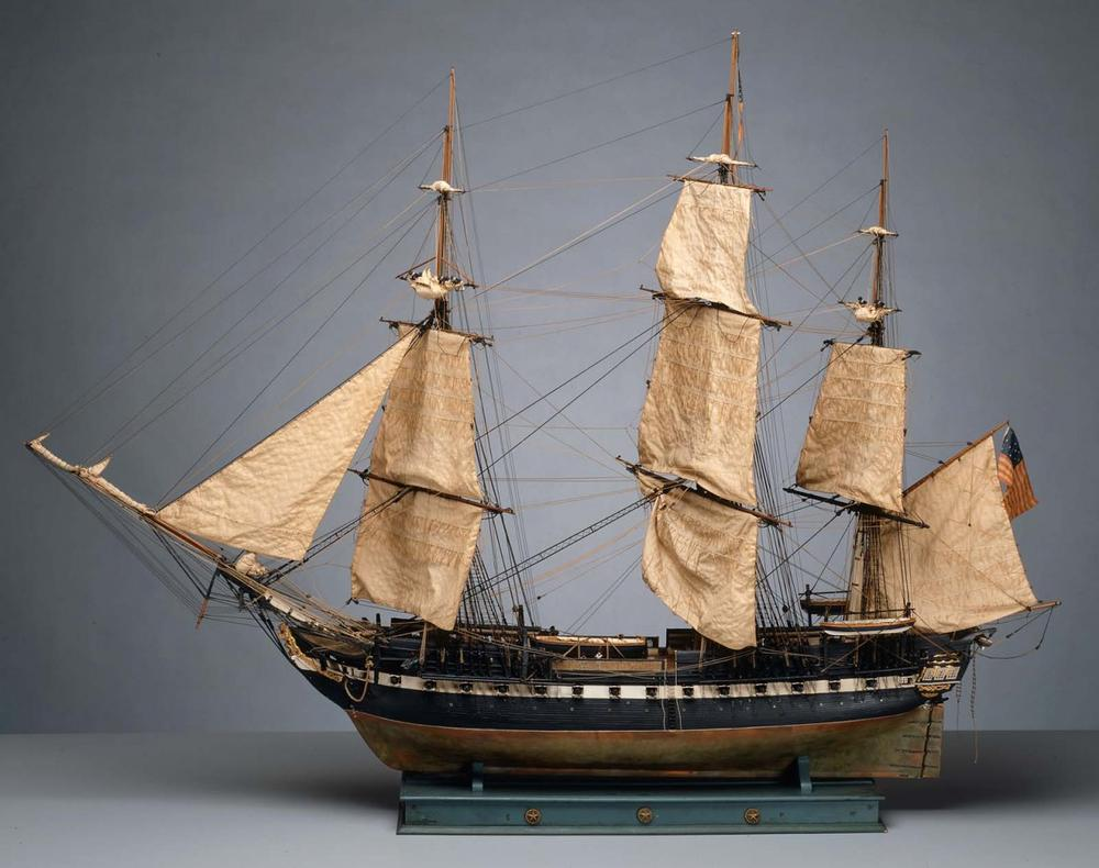 A model of the USS Constitution is on display at the MFA's new Art of the Americas wing. (Courtesy of MFA Boston)